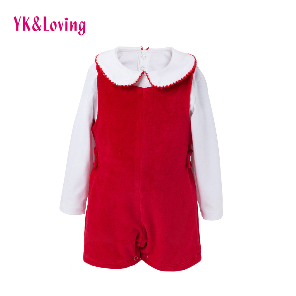 YK&Loving Xmas Winter Warm Newborn Girls Clothing Sets Cute Turn-down Red Christmas Gift Baby Girls Suspender Pants New Birthday