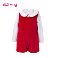 YK Loving Xmas Winter Warm Newborn Girls Clothing Sets Cute Turn Down Red Christmas Gift Baby
