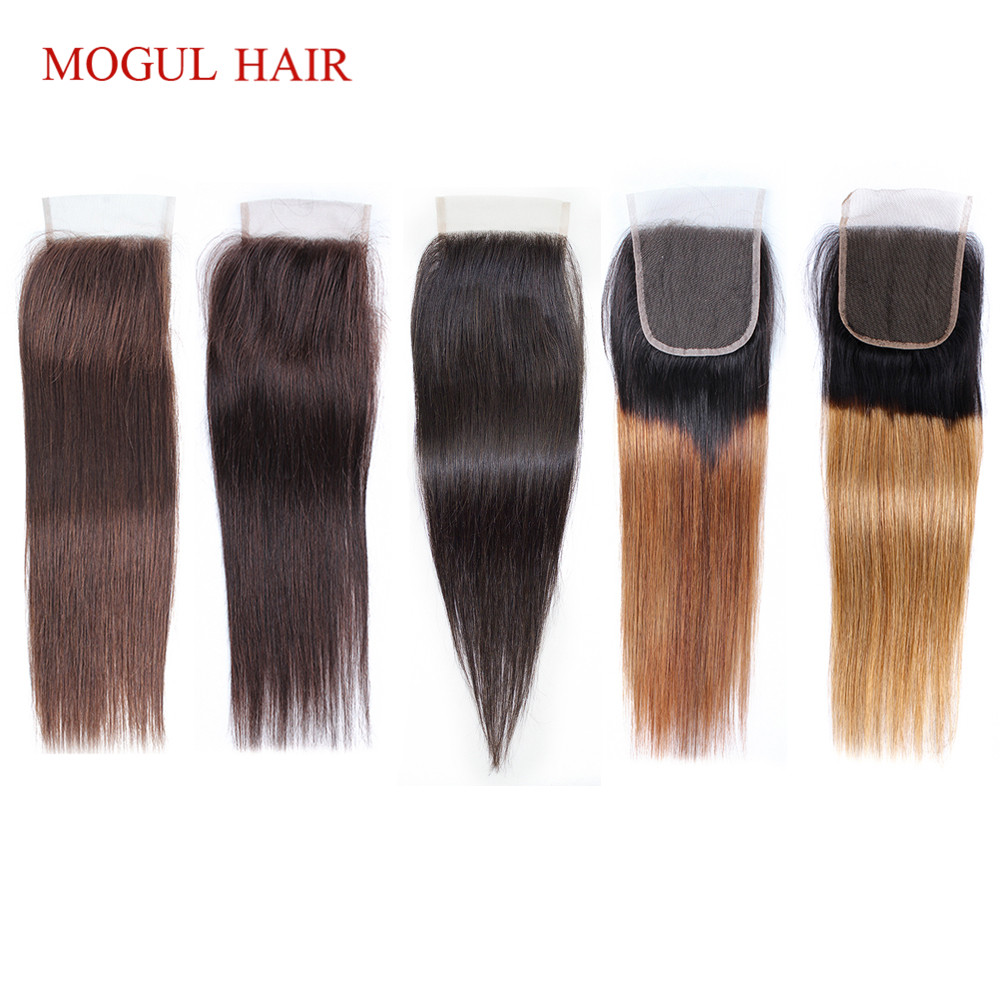 MOGUL HAIR Color 2 Dark Brown Remy Human Hair Closure Peruvian Straight Hair 4*4 Lace Closure Ombre Honey Blonde Natural Black