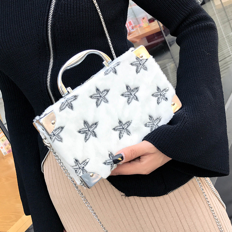 High Quality Fashion Box Style Small Shoulder Bag Ladies Crossboby Shoulder Bags Embroidery Fleece 2018 Popular Style