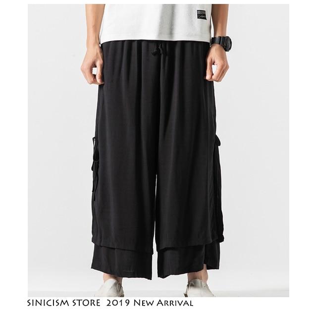 Sinicism Store 2020 Men Wide Leg Pants Summer Streewear Cotton Linen Loose Male Hanfu Chinese Style Mens Full Length Pants 3XL 32