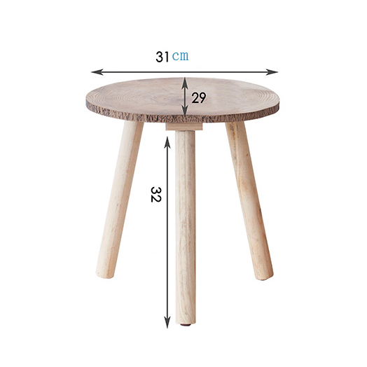 Knock Down Round 3 Legs Natural Pine Wood Small Side Table