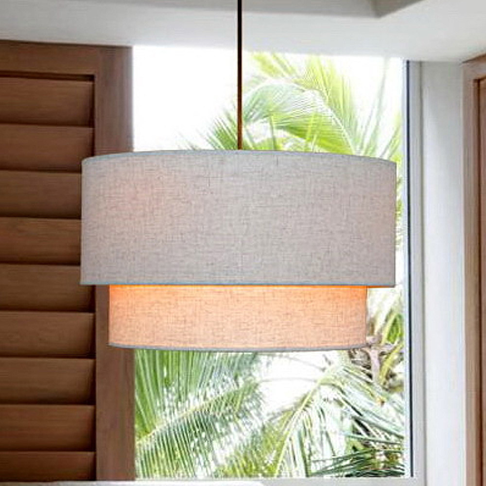 High Quality Double Cloth White Shade Brief Style Modern Lighting Pendant Wire Lamp Dining Room