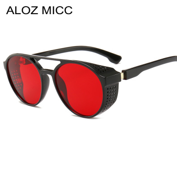 цена на ALOZ MICC 2019 New Retro SteamPunk Sunglasses Women Brand Designer Side Mesh Round Punk sunglasses men Red Grey Lens UV400 Q393