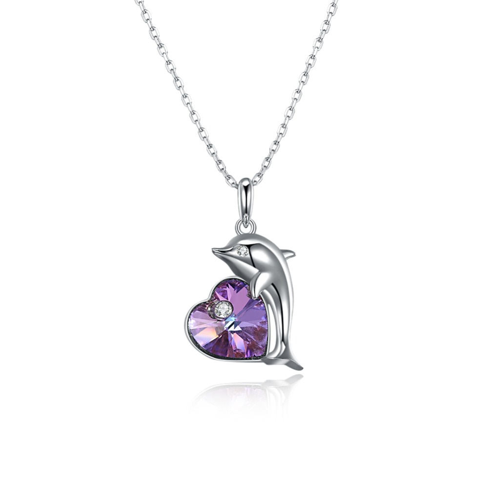 Heart Crystal Necklaces Pendants Jewerly 2019 Necklace for Women Crystals from Swarovski Cute Dolphin Jewelry