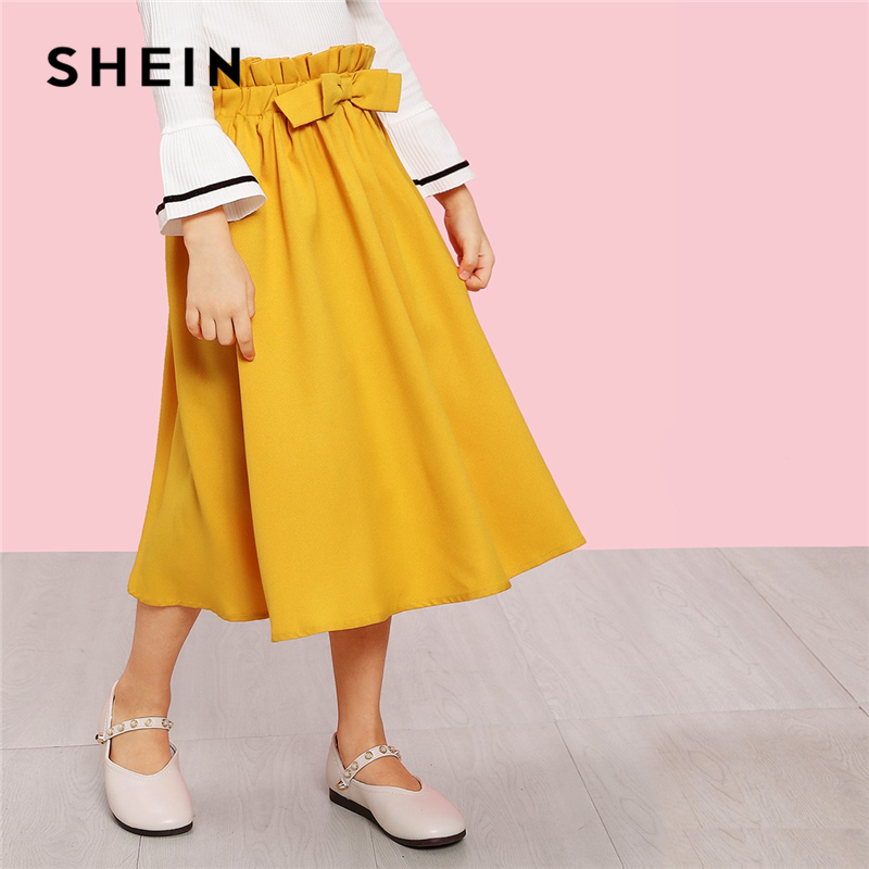 SHEIN Kiddie Ginger Solid Bow Front Waist Casual Girls Skirts Kids Clothing 2019 Summer Cute A Line Flared Preppy Long Skirts цена 2017