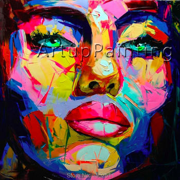 Palette knife portrait Face Oil painting Impasto figure on canvas Hand painted Francoise Nielly Wall Art for living room Decor