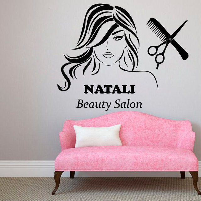 Girls beauty salon wall decal personalized name vinyl wall stickers interior removable hair spa haircut custom