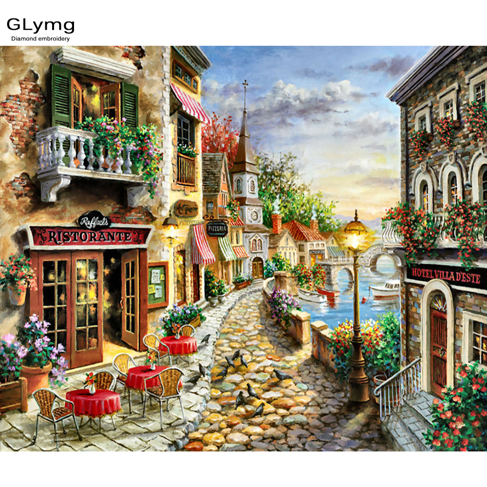 Craft Needlework Diy Handicrafts City Landscape Diamond Painting Street Painting Diamond Embroidery Square Drill Mosaic Picture