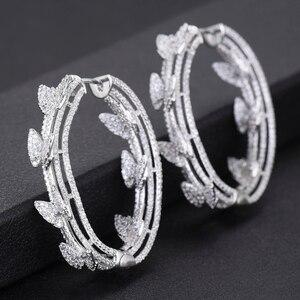 Image 2 - GODKI Luxury Butterfly Cubic Zircon Statement Big Hoop Earrings For Women Wedding DUBAI Bridal Round Circle Hoop Earrings 2019