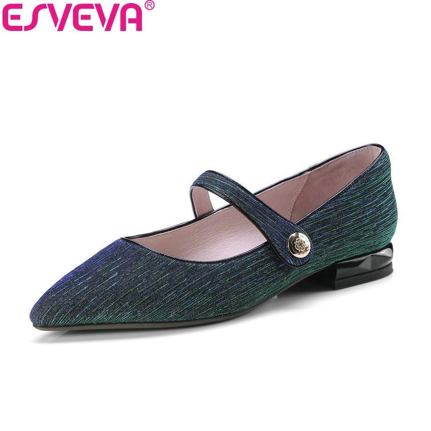 ESVEVA 2018 Women Pumps Shiny Microfiber Cloth Pattern Square Low Heels Pointed Toe Pumps Novelty Shoes for Women Size 34-42