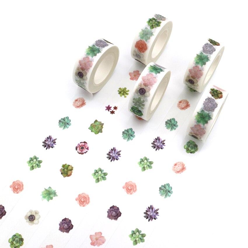 1 PCS Creative kawai Succulent Plants Washi Tape DIY Decorative Tape Color Paper Office Adhesive Stationery Masking Tape Sticker