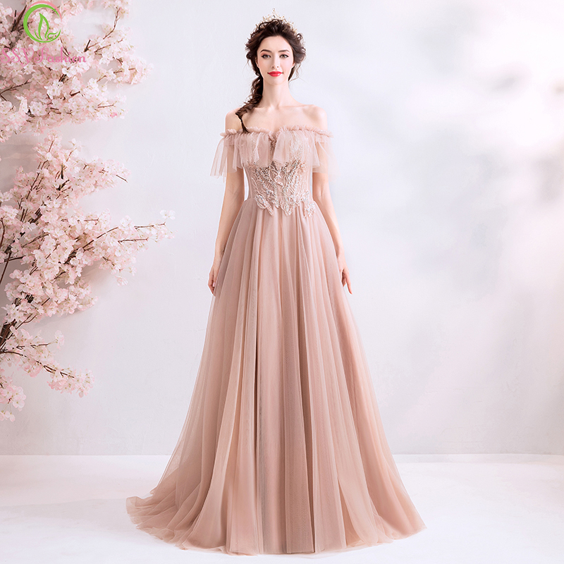 SSYFashion New Long Evening Dress Sweet Nude Pink Boat Neck Floor-length Lace Appliques Beading Formal Gowns Robe De Soiree