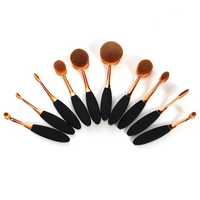 Novo 10 Pcs Pincéis de Maquiagem Profissional Sintético Rose Gold Oval Conjunto de Pincel de Maquiagem Rosto Pó Fundação Cosméticos Escova Ferramentas