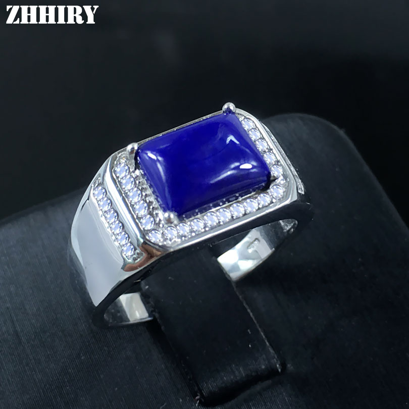 Man Natural Lapis Lazuli Gemstone Ring Real 925 Sterling Silver Men And Women General rings Genuine JewelryMan Natural Lapis Lazuli Gemstone Ring Real 925 Sterling Silver Men And Women General rings Genuine Jewelry
