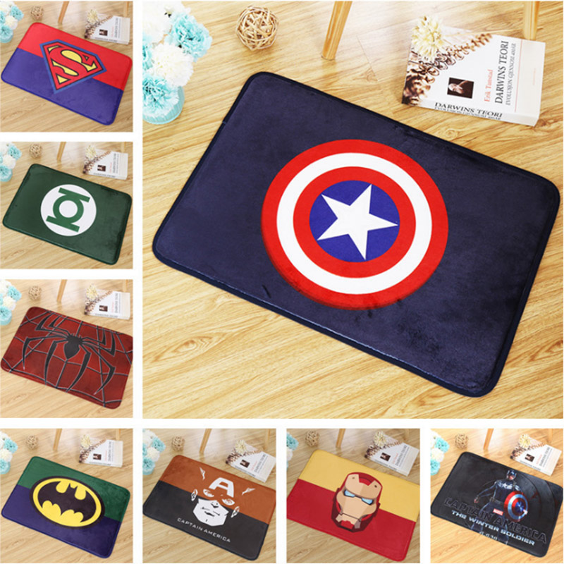 Soft Comfortable Floor Mats Anti-slip Rugs Superman Batman Spiderman Ironman Printed Carpets Bathroom Kitchen Carpets Doormats