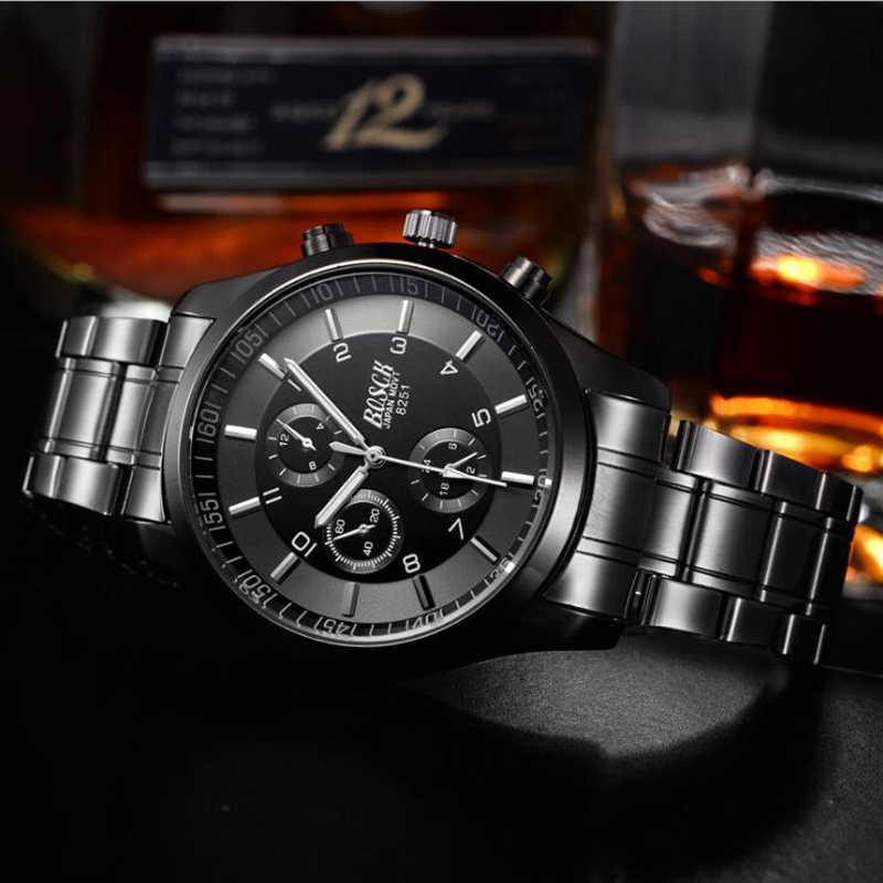 Bosck hommes montre sport en acier inoxydable Hardlex nouveau avec étiquettes montre-bracelet hommes décontracté Reloj Hombre mâle Quartz-montre 2019
