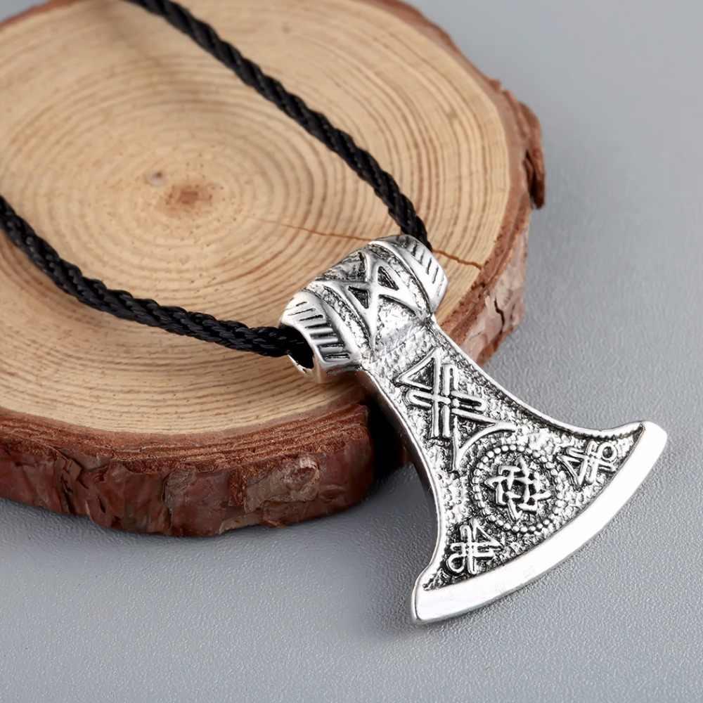 CHENGXUN mężczyźni naszyjnik Viking w podstrana, na topór słowiańskie Viking biżuteria Norse węzeł urok talizman naszyjnik Thor młot wisiorek