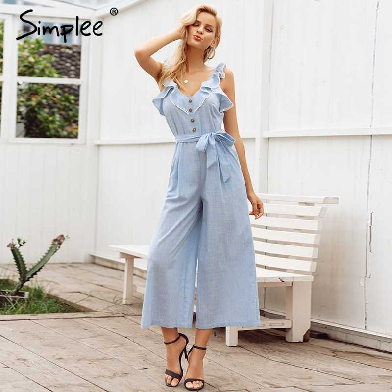 c3f4ae0a3ea Simplee Ruffled cotton linen women jumpsuit playsuit Sleeveless button jumpsuit  casual Summer wide leg overalls jumpsuit