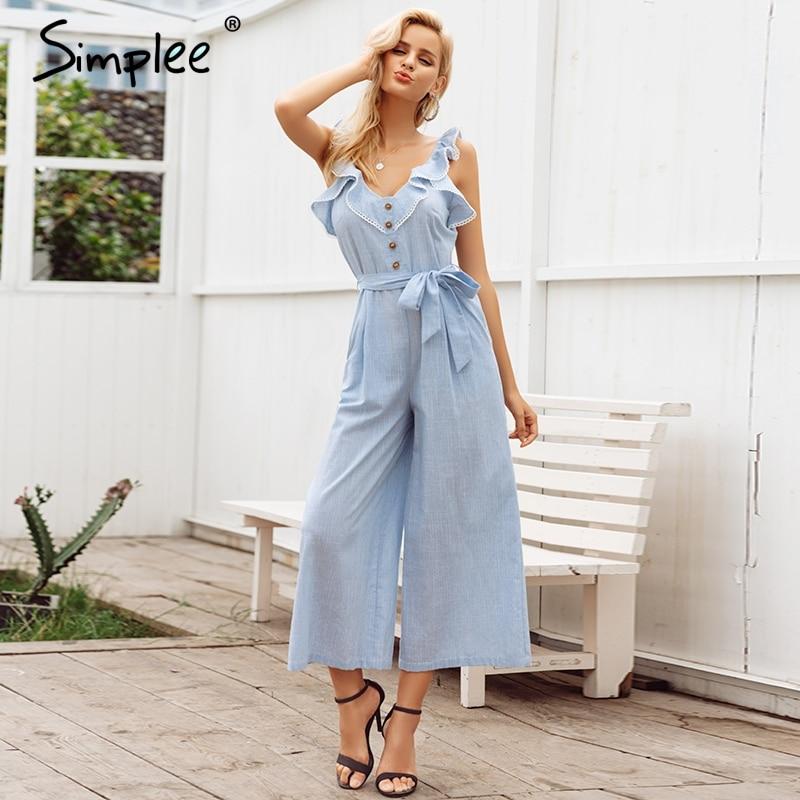 Simplee Ruffled Cotton Linen Women Jumpsuit Playsuit Sleeveless Button Jumpsuit Casual Summer Wide Leg Overalls Jumpsuit Long