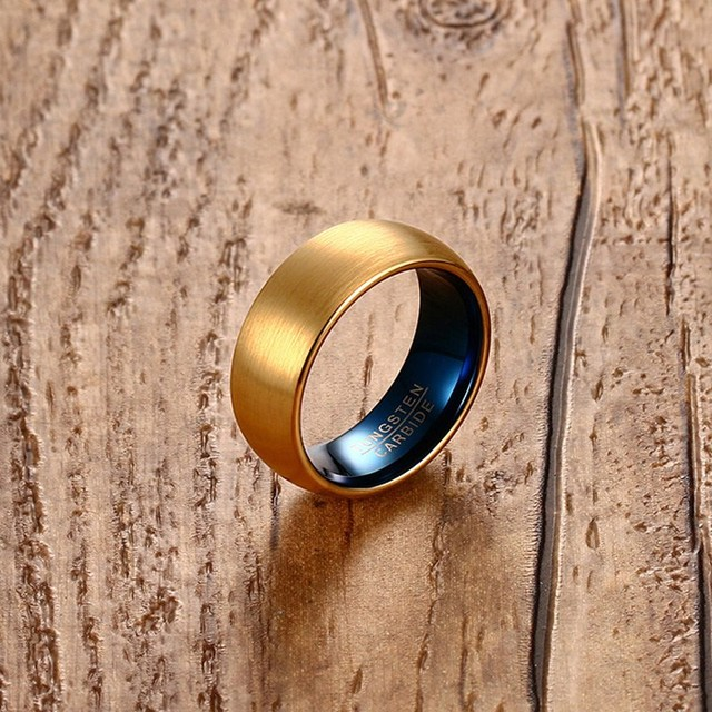 Vnox Men's Blue Tungsten Ring Classical Gold-color Rings Men Tungsten Jewelry