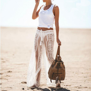 Image 5 - Summer Ladies Sexy Lace Pants Beach Cover Up Trousers High Waist Pants