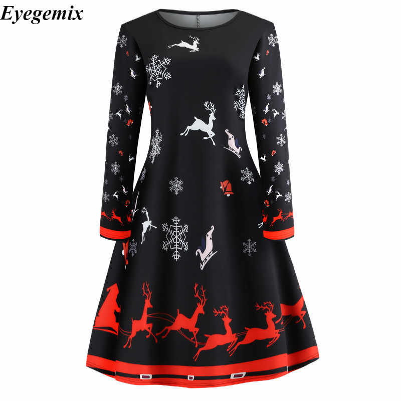 db1e8f230c747 Santa Snowflakes Print Christmas Dress Vintage PinUp Autumn 2019 Fashion  Long Sleeve Casual Rockabilly Winter Dresses