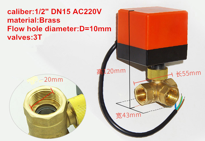 DN15/DN20/DN25 AC220V 3 way 3 wires electric brass ball valve,Cold&hot water vapor/heat gas motorized ball valve special gas silk articulated copper ball valve thickening dn 15 gas ball valves