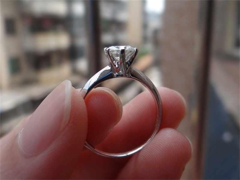 Clásico 100% sólida plata 925 anillo eterno seis mandíbula 1ct Diamant CZ Anillos De Compromiso anillo de boda para mujer regalo de la joyería