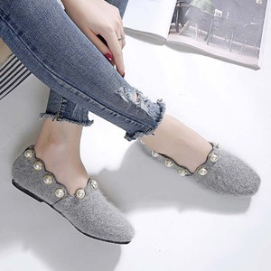 Image 5 - Plus Size Shoes Woman Mink Fur Flats Low Heels Pearl Shoes Ladies Loafers Pointed Toe Moccasins Fur Espadrilles Size 40/42/43
