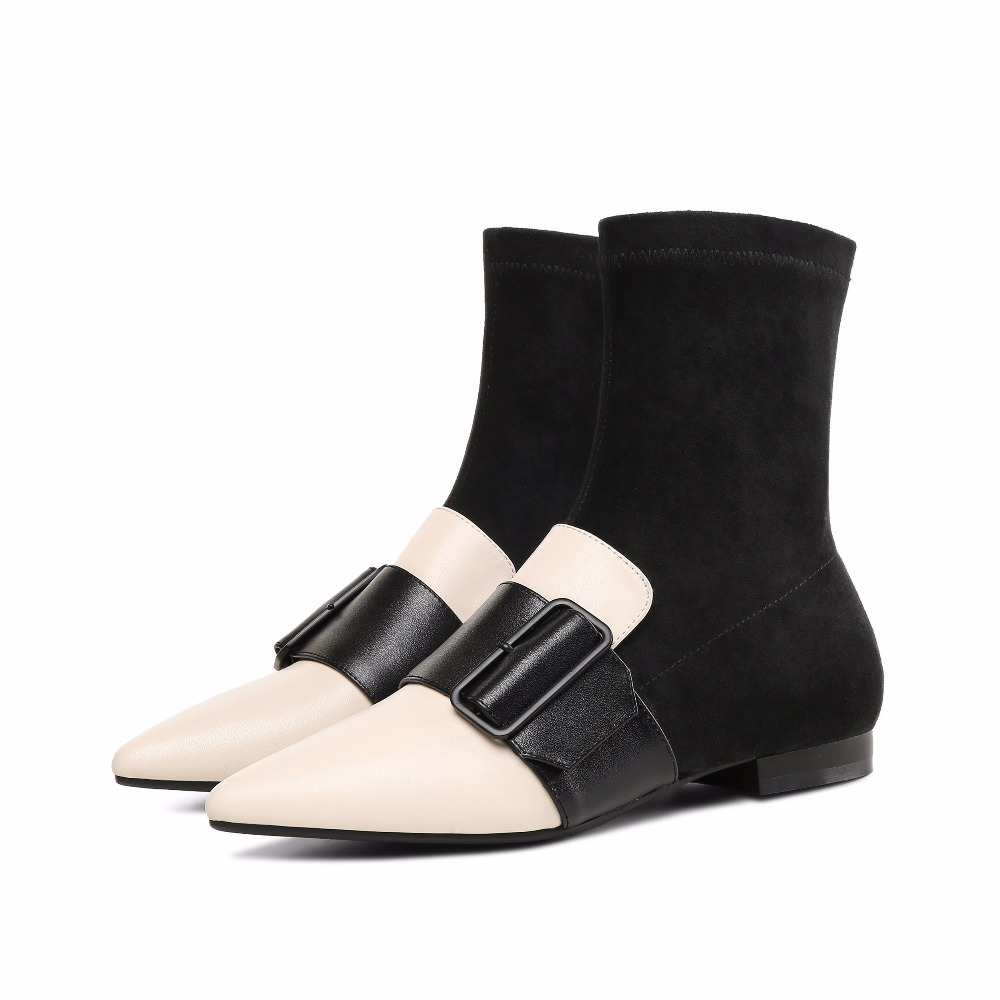 Mode Sur Cuir Chaussettes Plat Cheville Casual Arden 2018 Bottes Glissement Printemps La En Boucle Stretch Automne Véritable Chaussures Apricot black Furtado wq0qa7fX