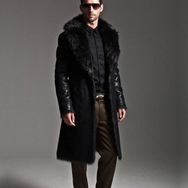 2015 Winter Mens Faux Fur Coat Black Rabbit Men Long Warm