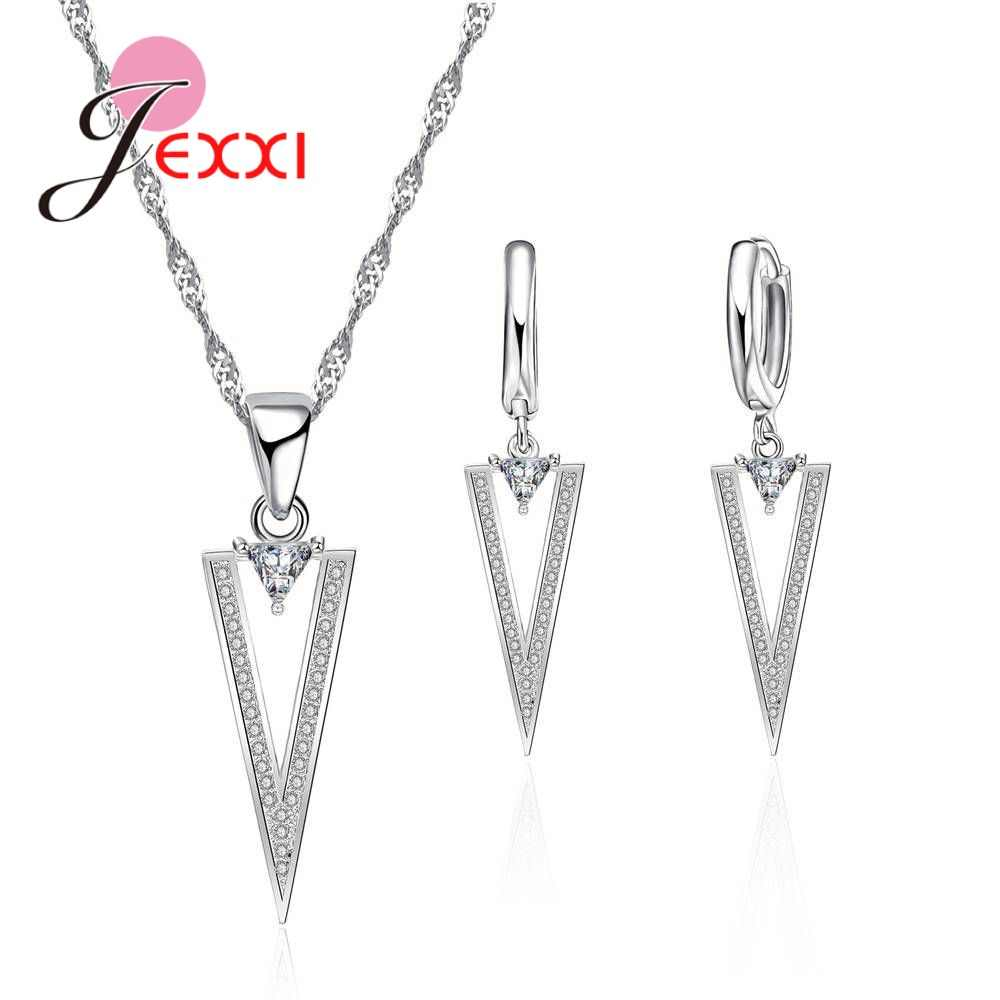 Fashion Novel Crystal Necklace Earring Genuine 925 Sterling Silver White Cubic Zirconia Woman Girls Jewelry Sets