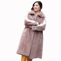 Пальто с натуральным мехом, осенне-зимняя куртка, женская одежда 2018, корейское винтажное пальто из меха норки, Воротник из овечьей шерсти, дл...