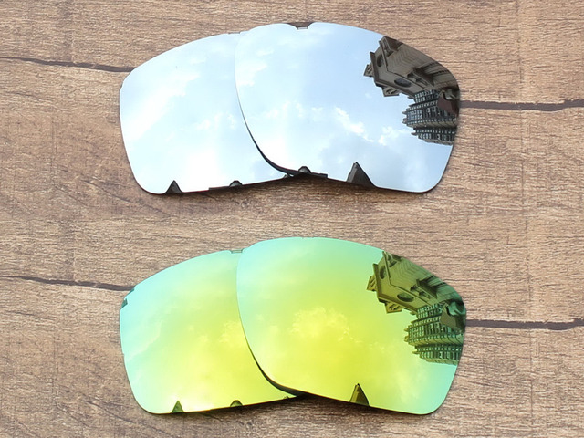 369c8e97ca1 Chrome Silver   24K Golden 2 Pairs Mirror Polarized Replacement Lenses For Big  Taco Sunglasses Frame 100% UVA   UVB Protection