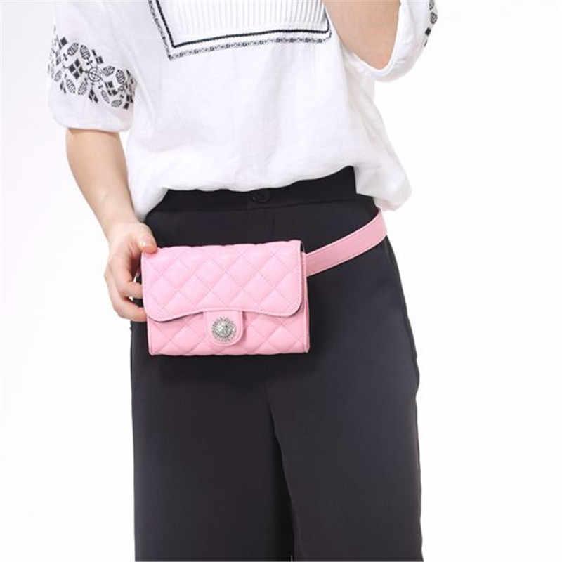 ファッション革の女性のウエストベルトバッグチェーンベルトウエストパックチェック柄クロスボディハンドバッグスモール女性バッグ旅行バッグチェーンショルダーバッグ。