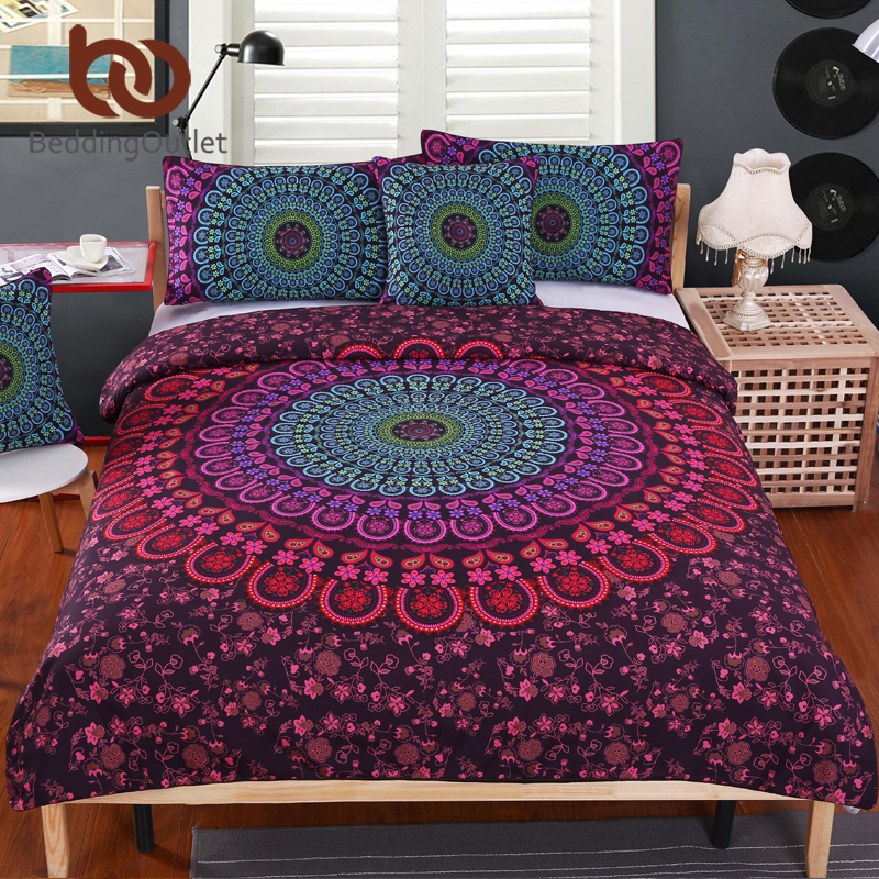 BeddingOutlet Mandala Bedding Set Queen Soft Bedclothes Twill Bohemian Print Duvet Cover Set With Pillowcases 4pcs Bed Set Home