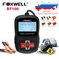 12 v testador de bateria de carro foxwell bt100 digital bateria analisador voltímetro testador de capacidade para o agm gel bateria inundada em russo