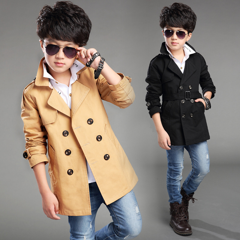 ФОТО Solid Boys Trench Coat Long Children Windbreaker Spring Autumn Roupas Infantis Menina Double Breasted Black Clothing Suit Cloth