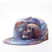 2016 Men Women Baseball Cap Hip Hop Skull Snapback 3D Printing Visor Hat P2091