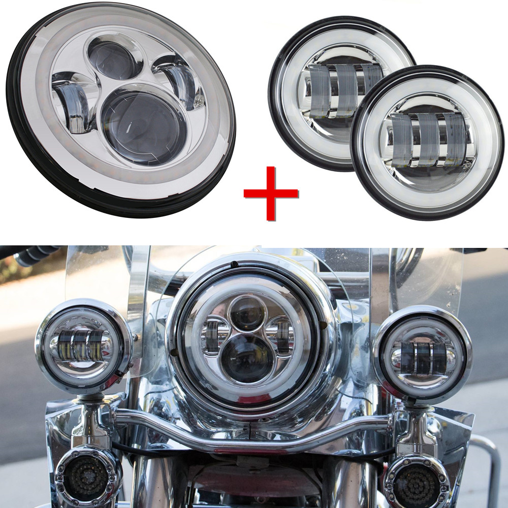 7inch Led Headlights White Halo Angel Eye/ DRL+2pcs 4.5Inch Led Fog Lights Halo For Harley Davidson Touring Electra Glide Road барьер road angel 19cm