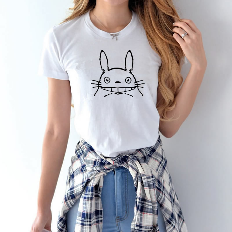 Totoro T-shirts- for Women Harajuku Funny Product Tops & Tees Basic Vintage Cotton Female T-shirts Hot