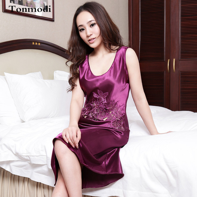 Nightgowns Women Summer Night Dress Long Lace Nightgown Mesh Silk ...