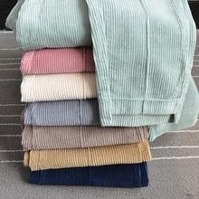 Women corduroy pants big size winter spring 2019 retro thick elastic waist casual loose harem corduroy women trousers
