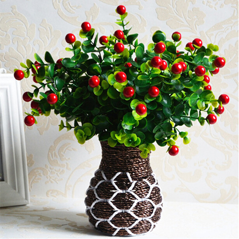 Green artificial plants fake floral plastic silk flowers for Artificial plants for decoration