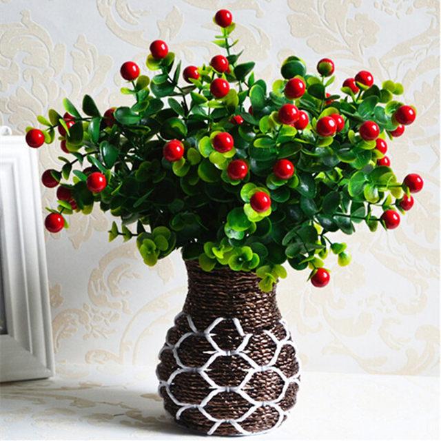 Green Artificial Plants Fake Fl Plastic Silk Flowers Eucalyptus Plant Office Hotel Table Decor Gr