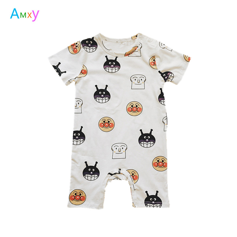 2018 Summer New Baby Cotton Rompers Kids Boys Girls short sleeve Cartoon Printed Costume Jumpsuits Roupas Bebes Infant Clothes