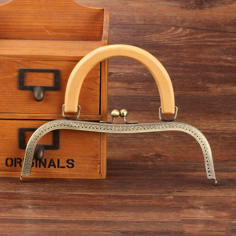 26cm Nature Wood Handle M Shape DIY Women Clutch Bag Metal Clasp Big Size Purse Frame 2pcs/lot
