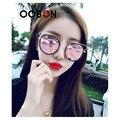 2017 Новые Моды Розовый зеркало круглый cat eye солнцезащитные очки женщины металл выдалбливают новые марка дизайнер женщины солнцезащитные очки UV400