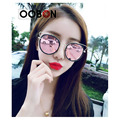 2017 Newest Fashion Pink mirror round cat eye sunglasses women metal hollow out newest brand designer women sunglasses UV400